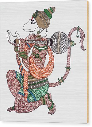 Hanuman Wood Print by Kruti Shah