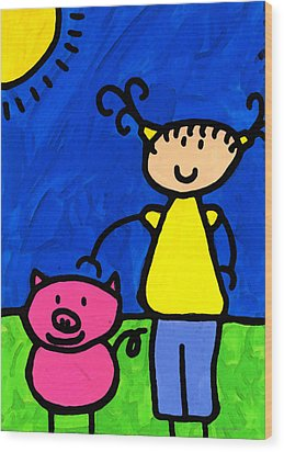 Happi Arte 1 - Girl With Pink Pig Art Wood Print by Sharon Cummings