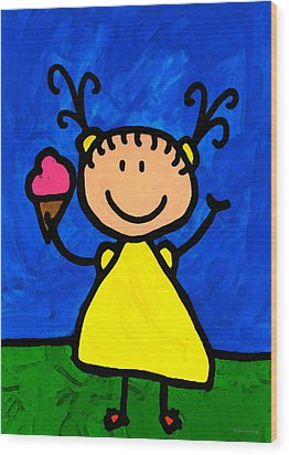 Happi Arte 3 - Little Girl Ice Cream Cone Art Wood Print by Sharon Cummings