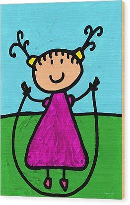 Happi Arte 7 - Girl On Jump Rope Art Wood Print by Sharon Cummings