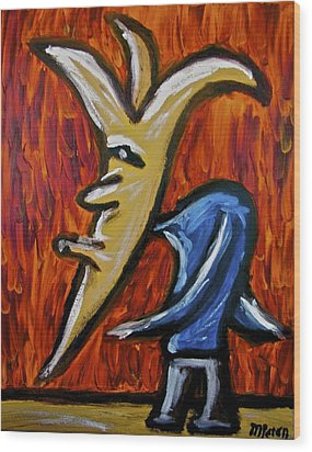 Wood Print featuring the painting Happiness 12-001 by Mario Perron