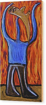 Wood Print featuring the painting Happiness 12-002 by Mario Perron