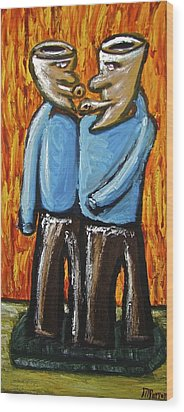 Wood Print featuring the painting Happiness 12-008 by Mario Perron