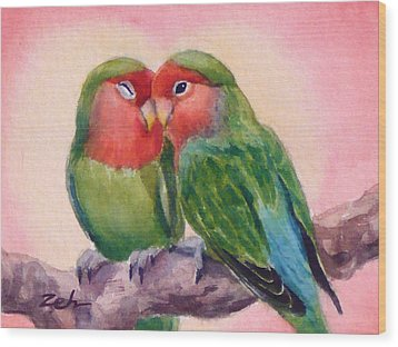 Happiness Forever Lovebirds Wood Print