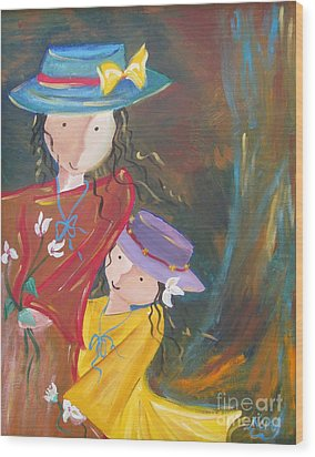 Wood Print featuring the painting Happiness by Nereida Rodriguez