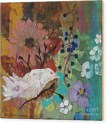 Wood Print featuring the painting Happiness by Robin Maria Pedrero