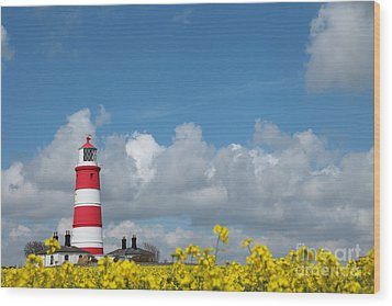 Happisburgh Lighthouse With Oil Seed Rape In Flower Wood Print by Paul Lilley