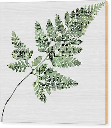 Happy Adventure Music Fern Wood Print by Sandra Foster