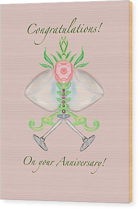 Wood Print featuring the digital art Happy Anniversary 1 by Christine Fournier