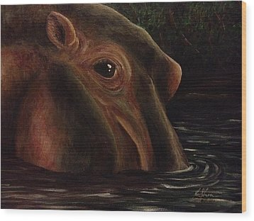 Happy As A Hippo Wood Print