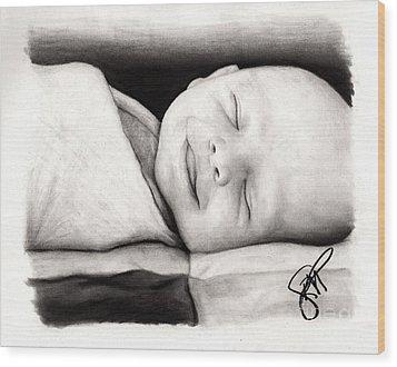 Happy Baby Wood Print by Rosalinda Markle