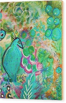 Happy Bird In Aqua Wood Print by Anne-Elizabeth Whiteway