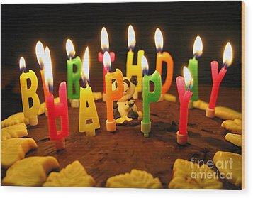 Happy Birthday Candles Wood Print by Lars Ruecker