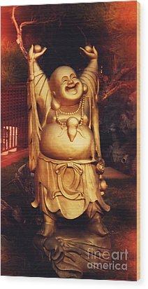 Happy Buddha Wood Print by Angela Wright