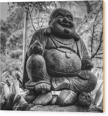 Wood Print featuring the photograph Happy Buddha by Cathy Donohoue