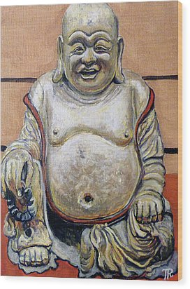 Happy Buddha  Wood Print by Tom Roderick