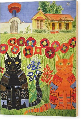 Happy Cats Wood Print