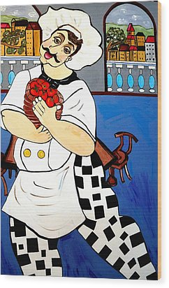 Wood Print featuring the painting Chef  Happy Chef by Nora Shepley