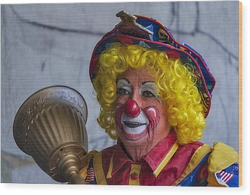 Happy Clown Wood Print by Susan Candelario