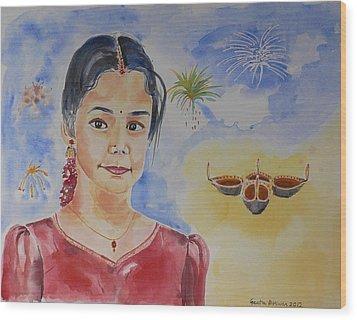 Happy Diwali  Wood Print by Geeta Biswas