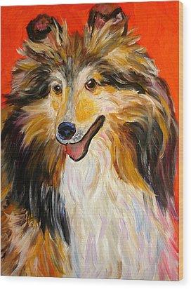 Happy Dog  --  Sheltie Wood Print