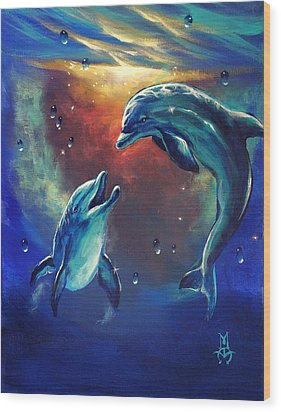 Happy Dolphins Wood Print by Marco Antonio Aguilar