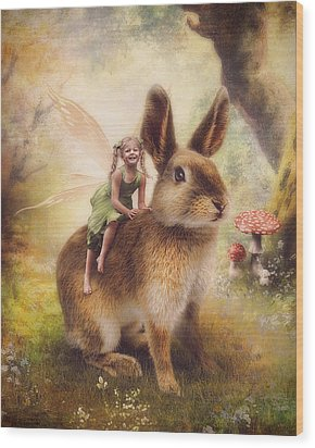 Happy Easter Wood Print by Cindy Grundsten