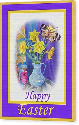 Happy Easter Daffodils Wood Print by Irina Sztukowski