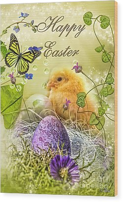 Happy Easter Wood Print by Mo T