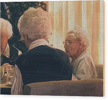 Wood Print featuring the painting Happy Elderly by Nop Briex