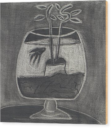 Wood Print featuring the drawing Happy Fish by Artists With Autism Inc