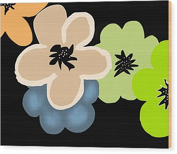 Wood Print featuring the digital art Happy Flowers Blue by Christine Fournier