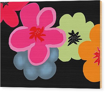 Wood Print featuring the digital art Happy Flowers Pink by Christine Fournier