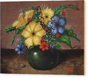 Happy Flowers Wood Print