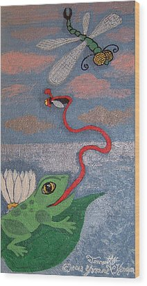 Happy Frog Wood Print by Yvonne  Kroupa