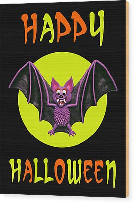 Happy Halloween Bat Wood Print by Amy Vangsgard