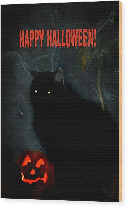 Happy Halloween Black Cat Wood Print by Michelle Frizzell-Thompson