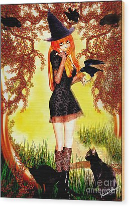 Happy Halloween Cute Witch Wood Print