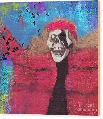 Happy Halloween Wood Print by Elena Nosyreva