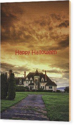 Happy Halloween Fiery Castle Wood Print by Eti Reid