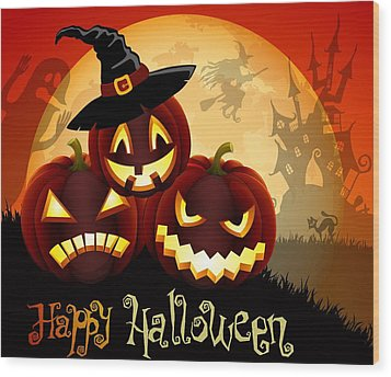 Wood Print featuring the painting Happy Halloween by Gianfranco Weiss