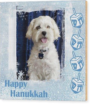 Happy Hanukkah Maltipoo Wood Print by Harold Bonacquist