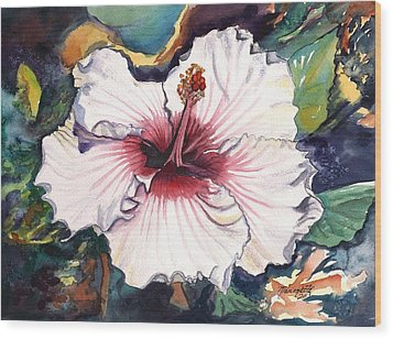 Wood Print featuring the painting Happy Hawaiian Hibiscus by Marionette Taboniar