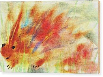 Happy Hedgehog Wood Print by Anastasiya Malakhova