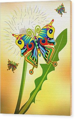 Happy Hippie Butterflies Wood Print by Bob Orsillo