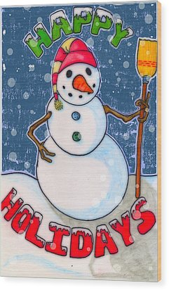 Happy Holidays Wood Print by Jame Hayes