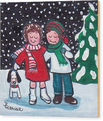 Wood Print featuring the painting Happy Holidays by Joyce Gebauer