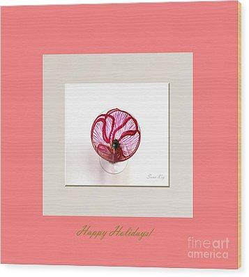 Happy Holidays. Poppy Wood Print by Oksana Semenchenko