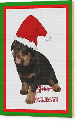 Happy Holidays Rottweiler Christmas Greetings  Wood Print by Tracey Harrington-Simpson