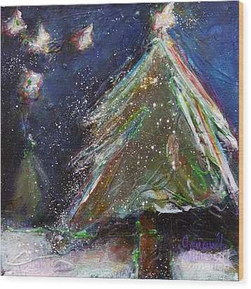 Happy Holidays Silver And Red Wishing Stars Wood Print by Johane Amirault